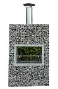 Steinkorb Block-Kamin Geschlossen mit erhöhte Grill XL