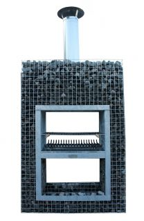 Steinkorb Block-Kamin mit 20cm erhöhte Grill XL