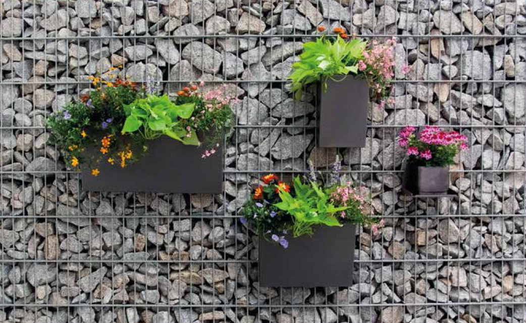 Pflanzbehälter aus pulverbeschichtetem Metall für Gabionen