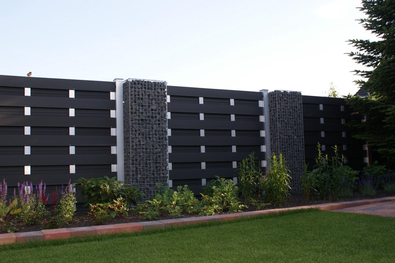 Gabionen Säulen mit WPC